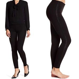 Hue Metallic Ponte Tuxedo Leggings Black XS